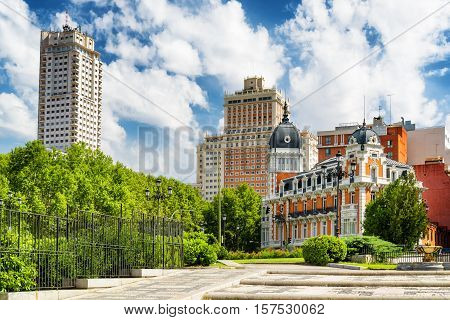 View Of The Tower Of Madrid (torre De Madrid) And The Spain Building (edificio Espana)