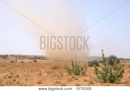 Small Tornado Of Sand, Jaisalmer Desert, India