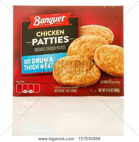 Winneconne WI - 19 November 2016: Box of Banquet chicken patties on an isolated background.