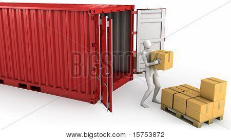 Worker Unloads Container