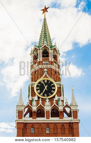 Spasskaya tower with chimes. Upper part with a star
