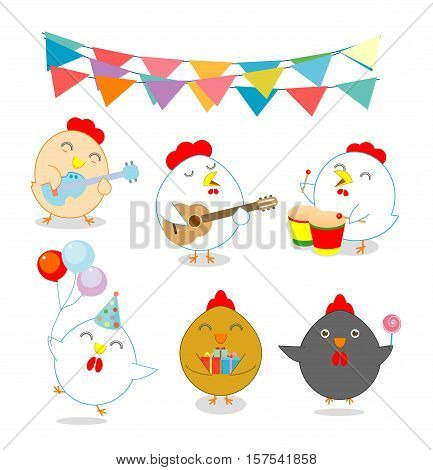 set of party chicken, rooster,cock, hen, chick, brood, flapper, juvenile, squab, Vector illustration