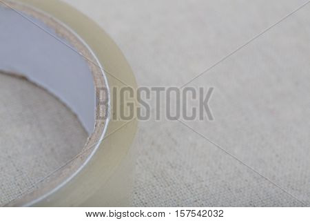 Old adhesive tape isolated on a linnes background
