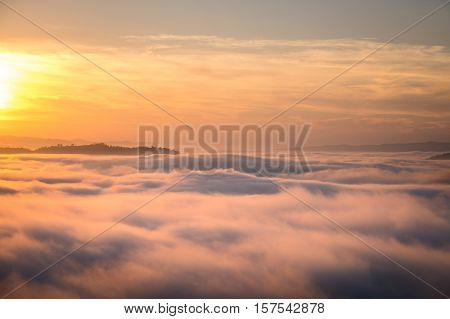 Beautiful sunrise view and sea of clouds from Phuhuayesan in Nong khai provience, Thailand.