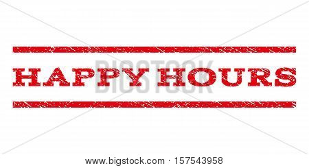Happy Hours watermark stamp. Text tag between parallel lines with grunge design style. Rubber seal stamp with unclean texture. Vector red color ink imprint on a white background.