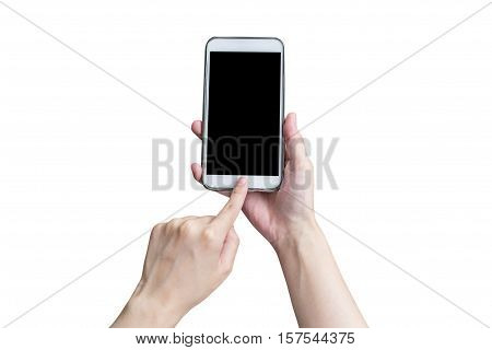 Hand Using Phone On Isolated White. Woman Hand Touching Phone On Isolated With Clipping Path. Hand P