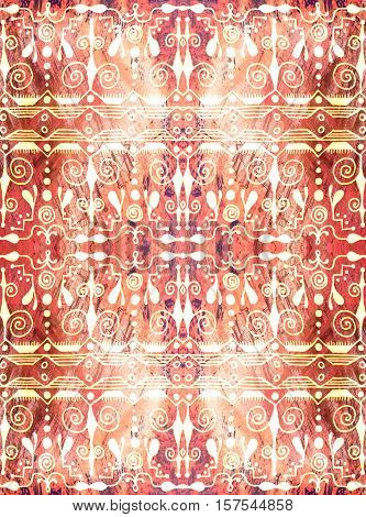 Ethnic seamless pattern. Boho red and white ornament. Repeating background. Tribal aboriginal art print. Fabric cloth design wallpaper wrapping Watercolor and Hand painted
