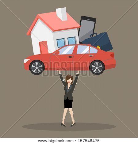 Business woman carrying debt burden. Business concept