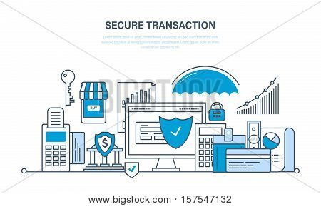 Secure transactions and payments, the guarantee security of financial deposits, transactions and savings deposits, payments insurance. Illustration thin line design of infographics elements.