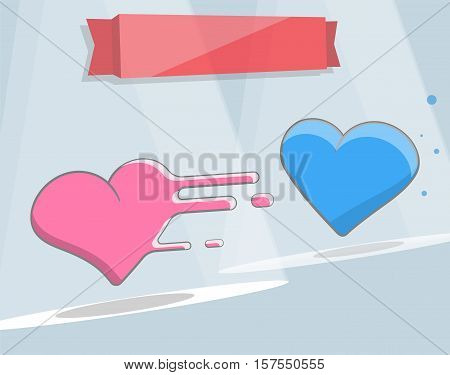 Vector illustration of two hearts. Cartoon style for print and web design.