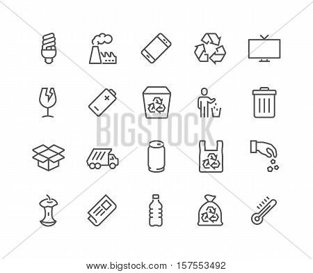 Simple Set of Garbage Related Vector Line Icons. Contains such Icons as Cardboard, Organic Waste, Plastic, Aluminium Can and more. Editable Stroke. 48x48 Pixel Perfect.