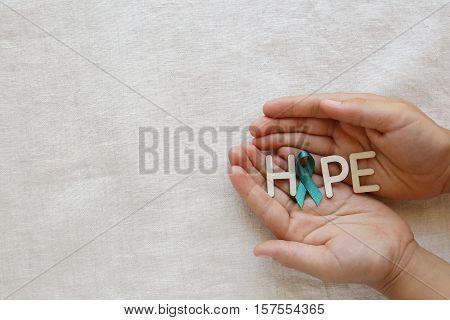 HOPE with Teal Ribbon on hands Ovarian Cancer cervical Cancer Kidney Cancer awareness