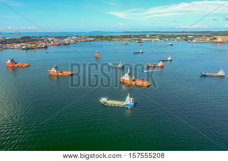 Aerial view of the supply vessels transporting cargo at Labuan,strategically located in the hub of Asia-Pacific & the ASEAN offshore oil exploration and production region.