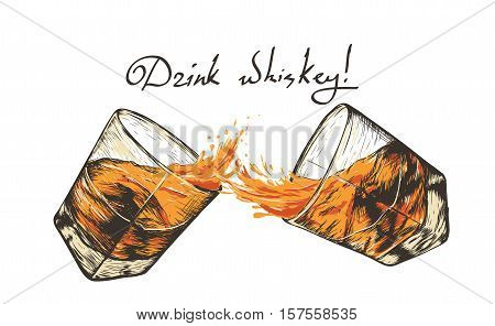 two glasses with whiskey.Hand drawn style. design of alcoholic drinks.Vector illustration