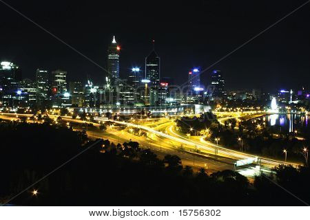 Perth City Skyline at Night Western Australia