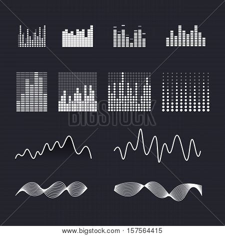 Set colorful ui ux music equalizer sound waves. Audio electronic bar. Music waves logo. Dj vector illustration. Black and white light audio signal.