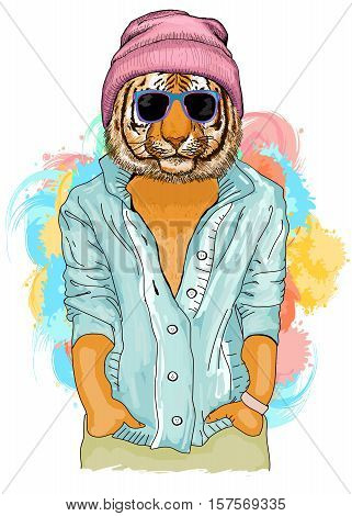 Hipster tiger fashion animal illustration. Fashion portrait of hipster tiger