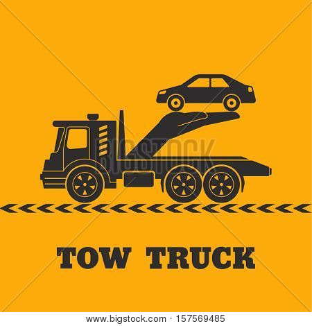 Tow truck icon yellow background. Hand holding the car. Round the clock evacuation of cars. Design can be used as a logo a poster advertising singboard. Vector element of graphic design