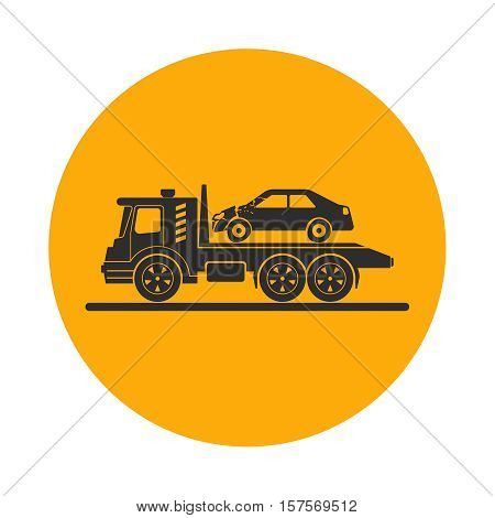 Tow truck with broken car. Round the clock evacuation of cars. Design can be used as a logo a poster advertising singboard. Vector element of graphic design