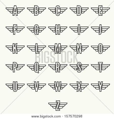 Elegant dynamic alphabet letters with wings. Monogram wing logo mockup. Creative design element. Corporate branding identity. Vector template.