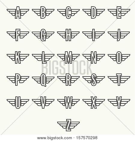 Elegant dynamic alphabet letters with wings. Monogram wing logo mockup. Creative design element. Corporate branding identity. Vector template.