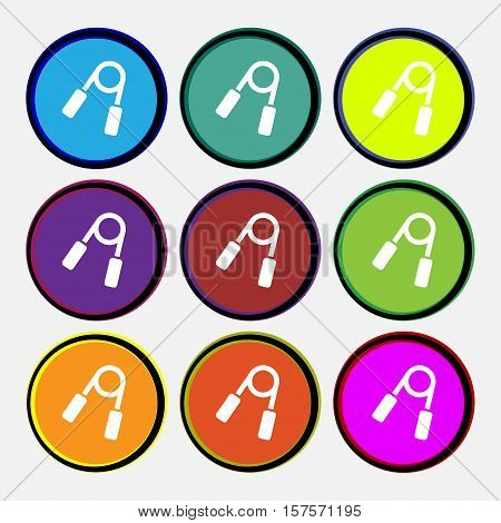 Hand Grip Trainer Icon Sign. Nine Multi Colored Round Buttons. Vector