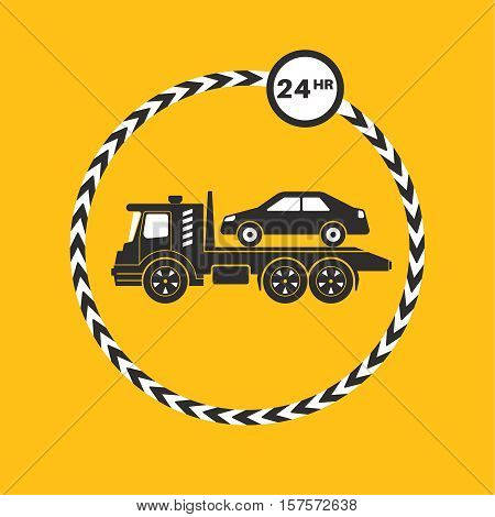 Tow truck icon on yellow background. Tow truck transports the car. Round the clock evacuation of cars. Design can be used as a logo a poster advertising singboard. Vector element of graphic design