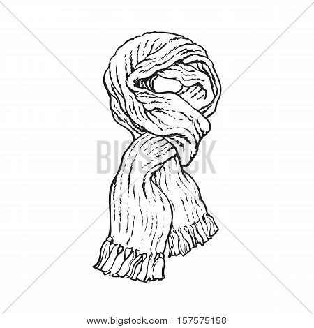 Bright slip knotted winter knitted scarf with tassels, sketch style vector illustrations isolated on white background. Hand drawn fluffy woolen scarf tied in slip knot, winter accessory
