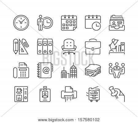 office and business thin line icon set black color isolated