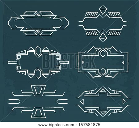 Vector line frames set in space style. Stock isolated set for design