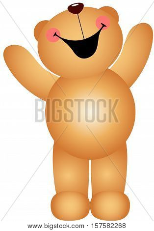 Scalable vectorial image representing a teddy bear laughing, isolated on white.