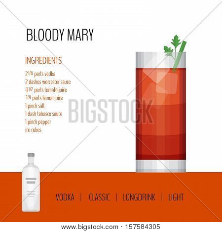 Glass Of Cocktail Bloody Mary On White Background. Cocktail Menu Card, Recipe. Flat Design Style, Ve