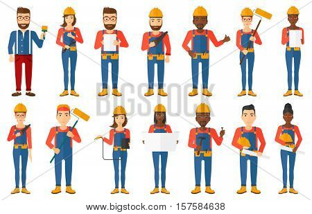 Engineer watching blueprint of construction. Female engineer holding a blueprint. Young engineer working on tablet computer. Set of vector flat design illustrations isolated on white background.