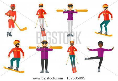Young woman skiing on the background of snow capped mountain. Skier skiing downhill in mountains. Female skier on downhill slope. Set of vector flat design illustrations isolated on white background.
