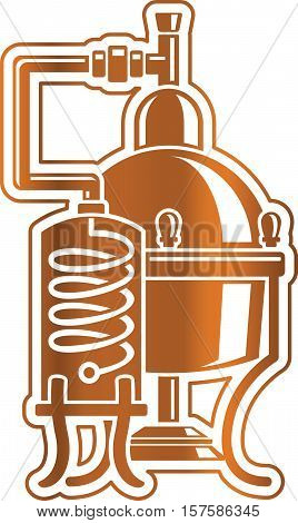Vector illustration cooper alcohol distillation unit alembic. Template for logo or Icon.