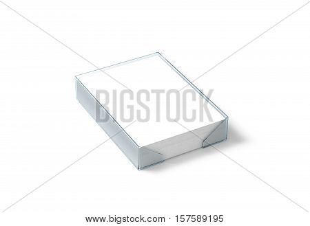 Blank white paper sheet mockup in plastic holder clipping path 3d rendering. Stack of A4 pages in acrylic transparent box mock up isolated.