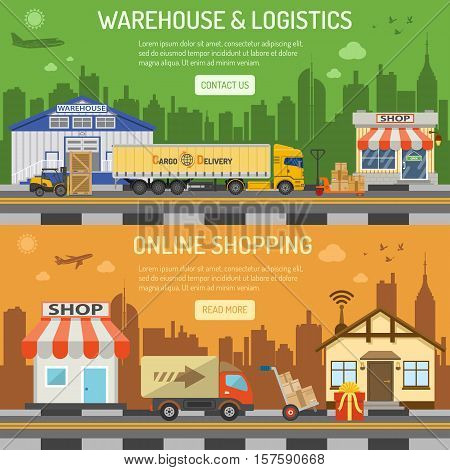 Warehouse, logistics and internet shopping Horizontal Banners with Flat Icons Set shop, delivery, truck, cityline, storage and house. vector illustration
