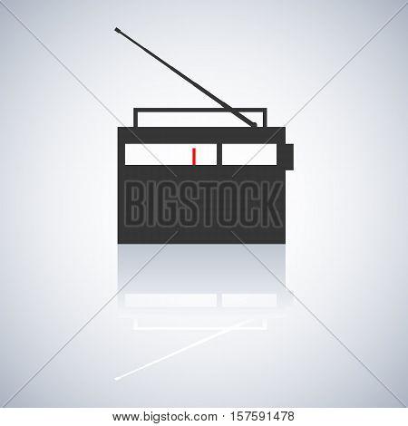 Gray icon retro radio with telescopic antenna a mirror reflection digital device design element vector illustration.