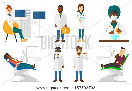 Pharmacist holding in hands a glass of water and pills. Pharmacist giving glass of water and pills. Pharmacist preparing medicine. Set of vector flat design illustrations isolated on white background.