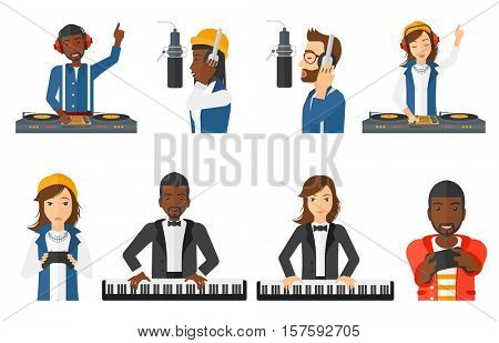 Young smiling musician playing piano. Pianist playing upright piano. Man playing on synthesizer. Musician performing with piano. Set of vector flat design illustrations isolated on white background.
