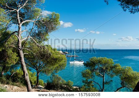 Beautiful seascape with white yacht in Majorca