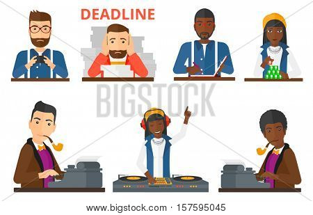 Journalist writing an article on a vintage typewriter. Journalist working on retro typewriter. Journalist working and smoking pipe. Set of vector flat design illustrations isolated on white background
