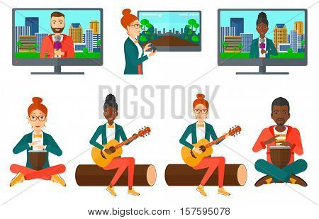 TV set with reporter talking into microphone on city background. TV reporter presenting the news. TV transmission with a reporter. Set of vector flat design illustrations isolated on white background.