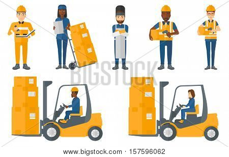 Warehouse worker scanning barcode on box. Warehouse worker checking barcode of box with a scanner. Warehouse worker in hard hat. Set of vector flat design illustrations isolated on white background.
