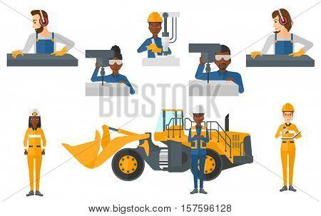 Metalworker working on industrial drilling machine. Metalworker using drilling machine. Metalworker drilling at manufactory. Set of vector flat design illustrations isolated on white background.