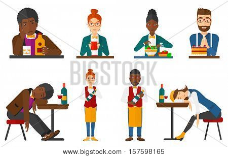 Young drunk woman deeply sleeping in bar. Drunk man sleeping in pub. Bar customer asleep on the table. Alcohol addiction concept. Set of vector flat design illustrations isolated on white background.