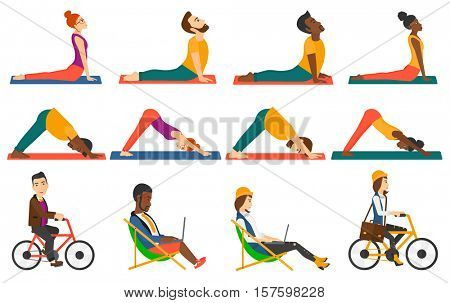 Man standing in yoga upward dog pose. Man meditating in yoga downward dog position. Sporty man doing yoga. Woman practicing yoga. Set of vector flat design illustrations isolated on white background.