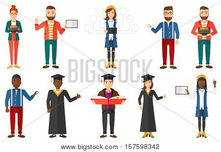Happy graduate in cloak and graduation cap showing thumb up. Excited graduate giving thumb up. Students celebrating graduation. Set of vector flat design illustrations isolated on white background.