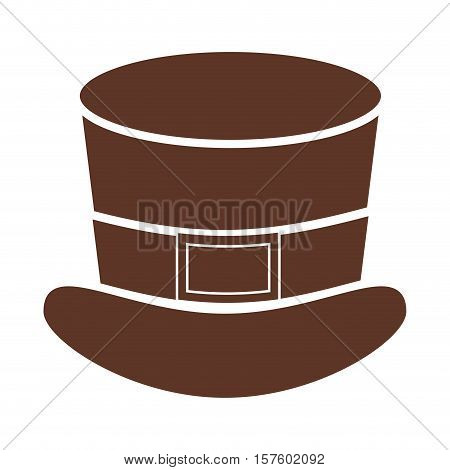 silhouette with leprechaun Hat in color brown vector illustration