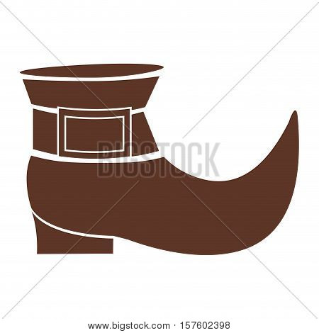silhouette brown with leprechaun shoe vector illustration